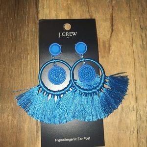J.crew blue tassel dangle earrings NWT.